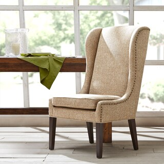 """Madison Park Sydney Traditional Wing Dining Chair--Beige - 26.25""""w x 28.5""""d x 45.625""""h"""