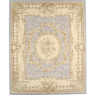 Chinese Florence Hand-tufted Wool and Silk Ivory/ Blue Area Rug (8'6 x 11'6)
