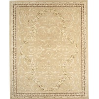 Chinese Florence Hand-tufted Wool and Silk Ivory/ Beige Area Rug (8'6 x 11'6)