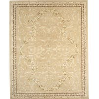Handmade Chinese Florence Hand-tufted Wool and Silk Ivory/ Beige Area Rug - 8'6 x 11'6
