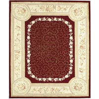 Chinese Florence Red/ Ivory Hand-tufted Wool and Silk Area Rug (8'6 x 11'6)