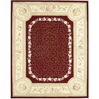 Chinese Florence Hand-tufted Wool and Silk Red/ Ivory Area Rug (7'9 x 9'9)