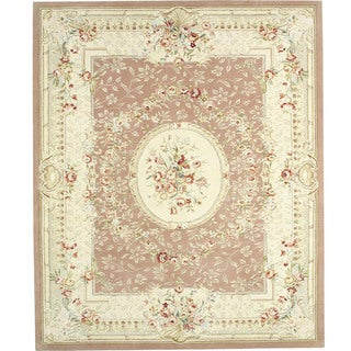 Handmade Traditional Hand Knotted French Aubusson Ivory