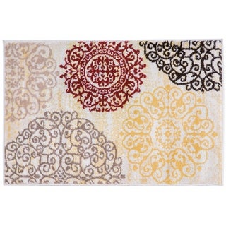 Contemporary Modern Floral Cream Indoor Area Rug - 2' x 3'