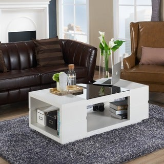 Furniture of America Lambern Contemporary Glass Top Coffee Table