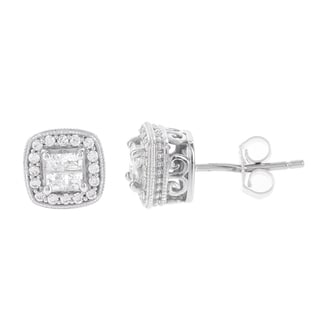 H Star Sterling Silver 1/2ct TDW Princess-cut Diamond Quad Earrings (I-J, I2-I3)