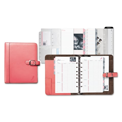 Day-Timer Pink Ribbon Loose-Leaf Organizer Set, 5 1/2 x 8 1/2, Pink Leather Cover