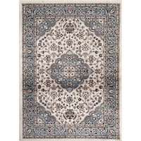 Traditional Oriental Medallion Design Blue Indoor Area Rug - 2' x 3'