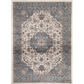 Traditional Oriental Medallion Design Blue Indoor Area Rug - 2' x 3'
