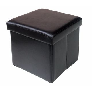Folding Storage Cube in Chocolate Leatherette