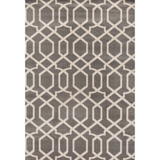 Contemporary Trellis Design Gray 2 ft. x 3 ft. Indoor Area Rug