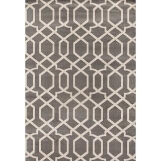 Contemporary Trellis Design Gray 2 ft. x 3 ft. Indoor Area Rug