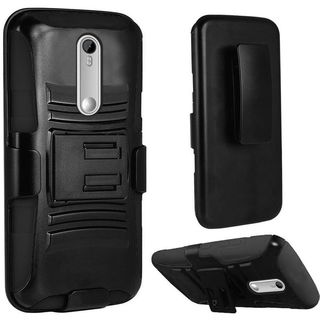 Insten Hard PC/ Silicone Dual Layer Hybrid Phone Case Cover with Holster For Motorola Moto X Style