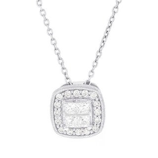 H Star Sterling Silver 1/2ct TDW Diamond Quad Princess-cut Necklace (I-J, I2-I3)