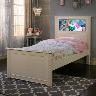 LightHeaded Beds Satin White Riviera Twin Bed by Lifetime