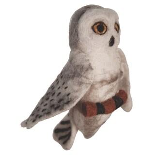Handmade Wild Woolies Snowy Owl Felt Bird Garden Ornament (Nepal) - N/A