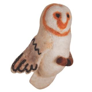 Handmade Wild Woolies Barn Owl Felt Bird Garden Ornament (Nepal)