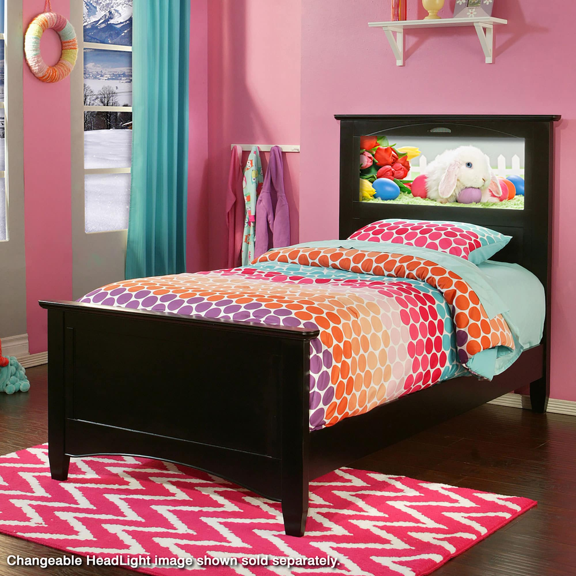 LightHeaded Beds Canterbury Black Twin Bed by Lifetime (B...