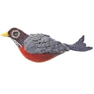 Handmade Wild Woolies Robin Felt Bird Garden Ornament (Nepal) - N/A