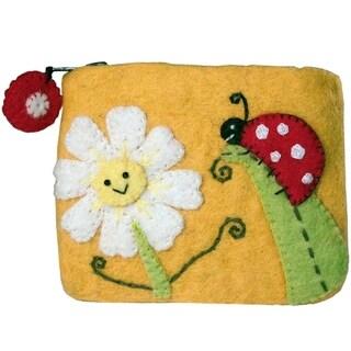 Handmade Wild Woolies Daisy and Ladybug Felt Coinpurse (Nepal)