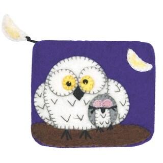 Handmade Wild Woolies Felt Coinpurse - Night Owls (Nepal)