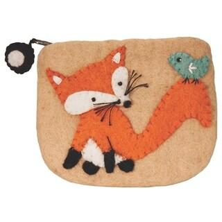 Handmade Wild Woolies Fox Felt Coinpurse (Nepal)
