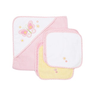 Spasilk Terry Neutral Cotton Bath Towel and Washcloth Set (Option: Pink Butterfly)