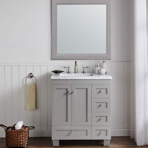 Eviva Acclaim 30 inch Gray Transitional Bathroom Vanity with White Carrara Marble Countertop and Undermount Porcelain Sink