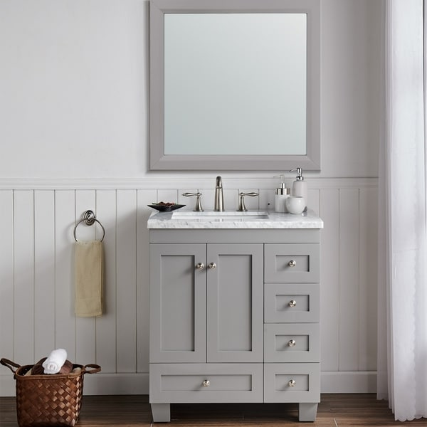Eviva Acclaim 30 inch Gray Transitional Bathroom Vanity with White Carrara Marble Countertop and Undermount Porcelain Sink. Opens flyout.