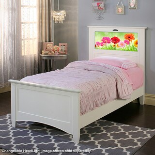 LightHeaded Beds Canterbury Satin White Twin Bed by Lifetime