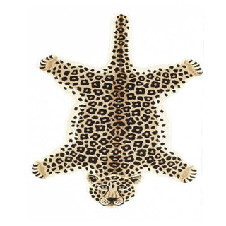 Hand-tufted Leopard Rug (India)