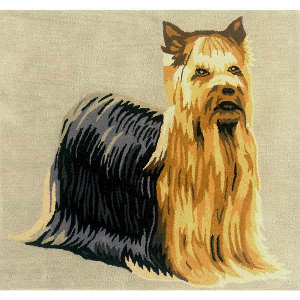 Indo Hand-tufted Yorkshire Terrier Wool Area Rug (3' x 3')