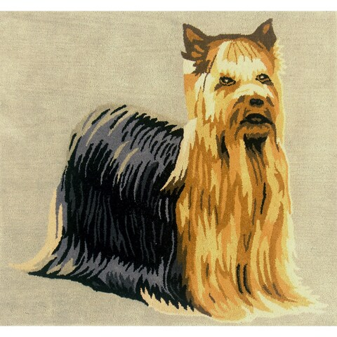 Handmade Indo Yorkshire Terrier Wool Area Rug (India) - 3' x 3'