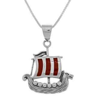 Carolina Glamour Collection Sterling Silver Viking Ship Pendant with Red Enamel on 18-inch Box Chain Necklace