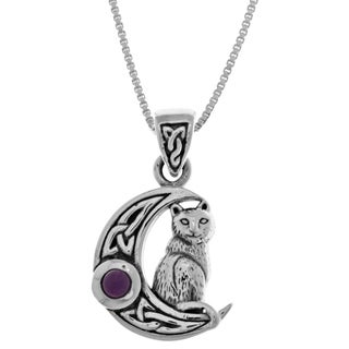 Carolina Glamour Collection Sterling Silver Celtic Crescent Moon and Cat Pendant with Purple Amethyst