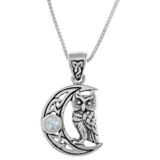 Sterling Silver Celtic Crescent Moon Owl Pendant with Rainbow Moonstone - White
