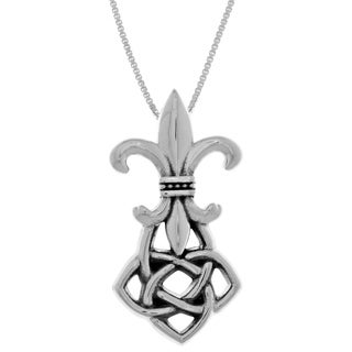 Carolina Glamour Collection Sterling Silver Celtic Fleur De Lis Pendant