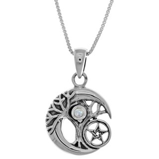 Carolina Glamour Collection Sterl Silver Celtic Tree of Life Moon Star Pendant