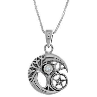Sterl Silver Celtic Tree of Life Moon Star Pendant