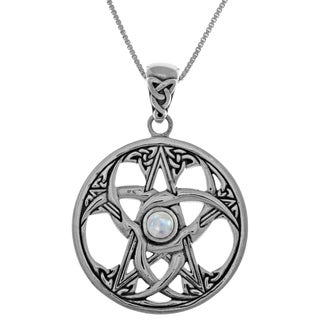 Carolina Glamour Collection Ster Silver Celtic Triple Crescent Moon Star Pendant w Rainbow Moonstone on 18in Box Chain Necklace