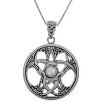 Ster Silver Celtic Triple Crescent Moon Star Pendant w Rainbow Moonstone on 18in Box Chain Necklace