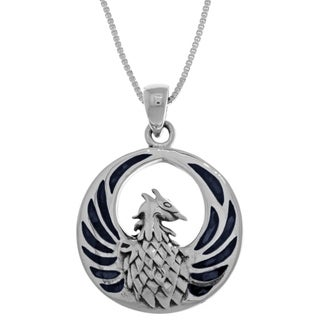 Carolina Glamour Collection Sterling Silver Gemstone Phoenix Fire Bird 18-inch Box Chain Necklace