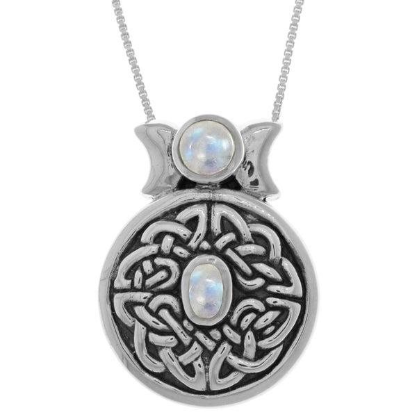Sterling Silver Round Gemstone Celtic Moon Goddess 18-inch Box Chain Necklace
