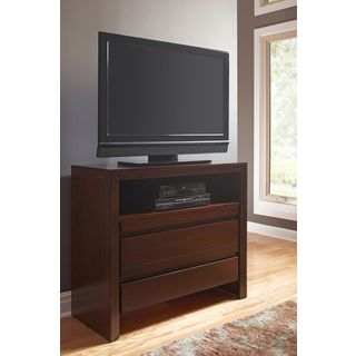 Finger Pull Picture Frame Media Chest in Chocolate Brown