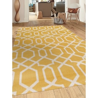 Contemporary Trellis Design Yellow 2 ft. x 3 ft. Indoor Area Rug