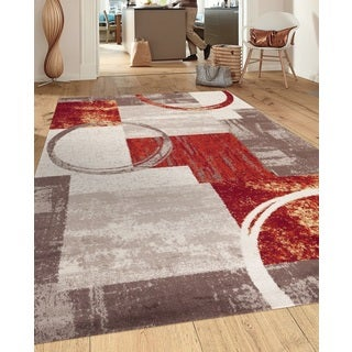 Contemporary Abstract Circle Design Multi Indoor Area Rug - 2' x 3'