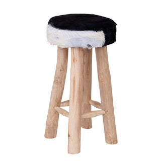 Dufur Contemporary Off-White Wooden Bar Stool
