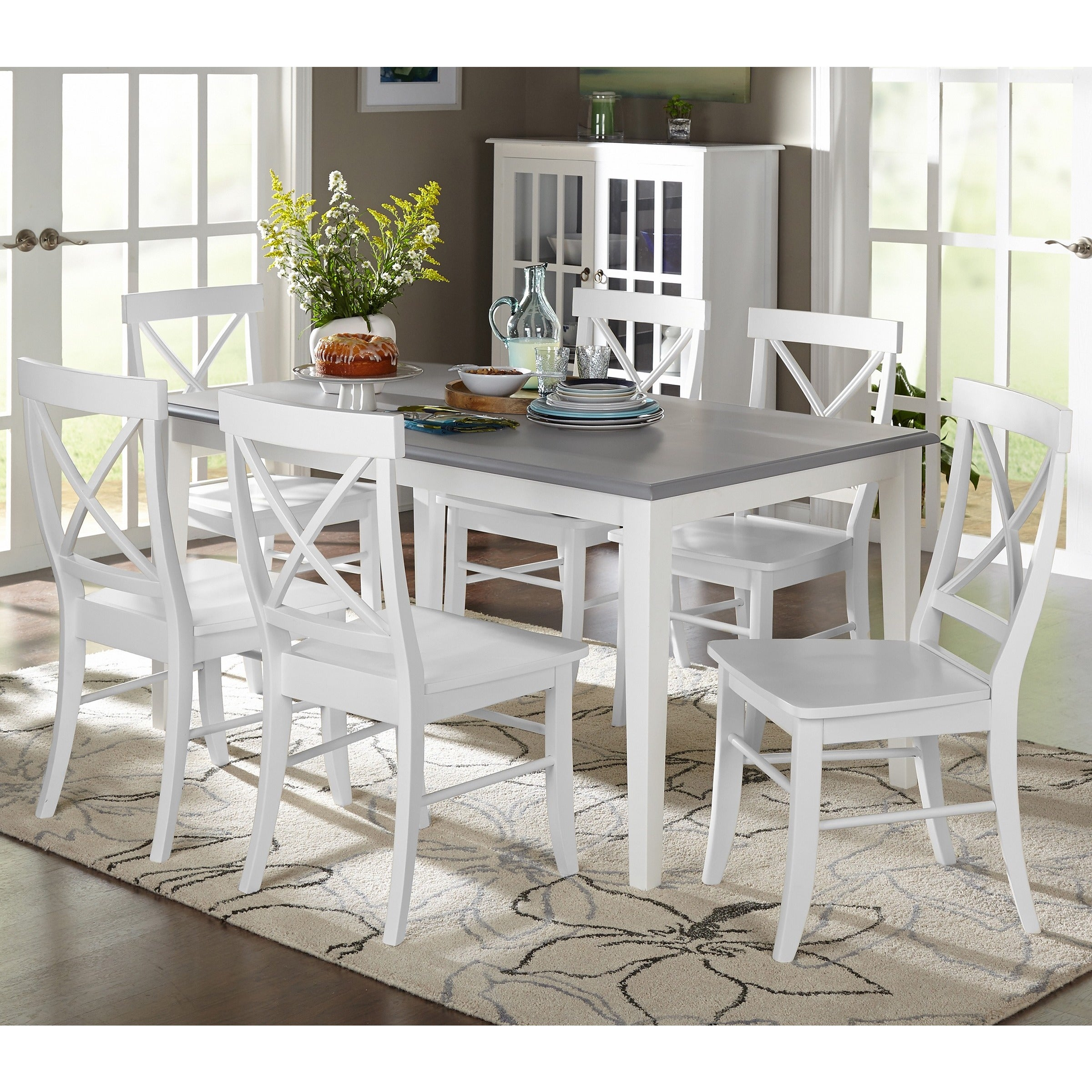 Simple Living 7 Piece Helena Dining Set Free Shipping Today 10609985 Grey
