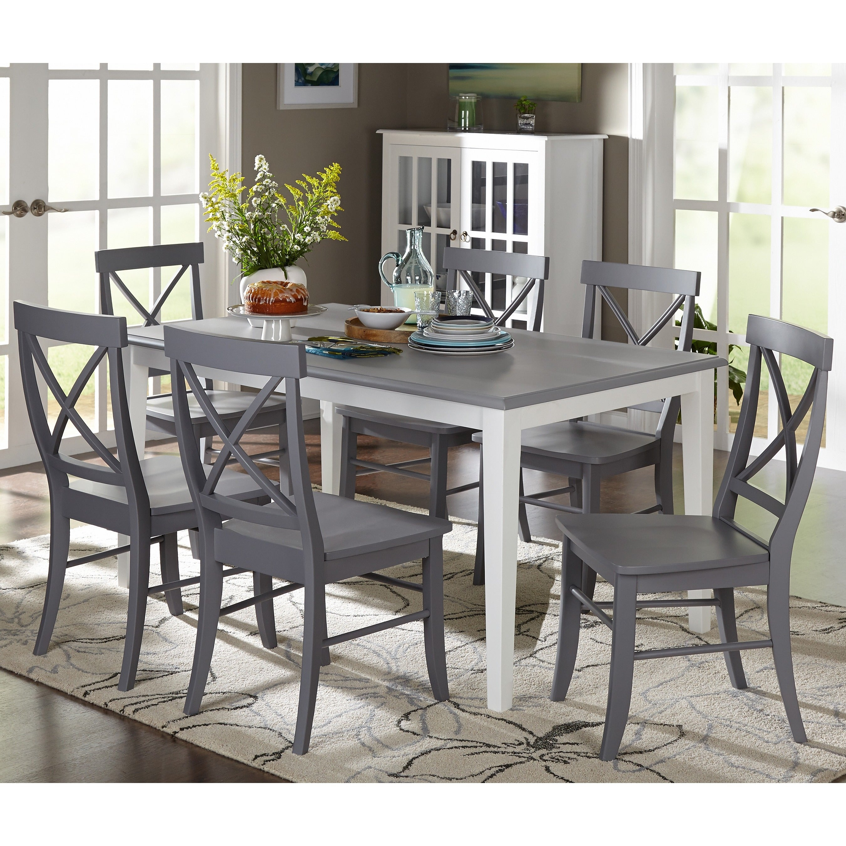 Lovely Simple Living 7 Piece Helena Dining Set