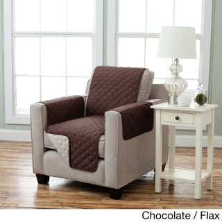 Home Fashion Designs Kaylee Collection Quilted Reversible Chair Protector (Option: Chocolate/Flax)